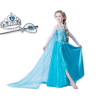Brand Girls Cosplay Snow Elsa Anna Fancy Dress Girls Long Party Princess Kids Clothes Customes Vestido