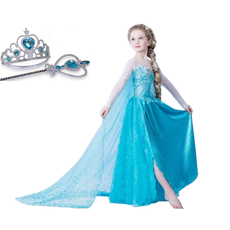 Brand Girls Cosplay Snow Elsa Anna Fancy Dress Girls Long Party Princess Kids Clothes Customes Vestido Children Dress Up Clothes new girls anna elsa dress children s dress sequined princess cinderella fancy kids clothes for party costume snow queen cosplay
