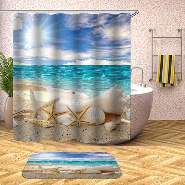 1pcs Beach Sun Shell Styles Print Shower Curtain Polyester Material