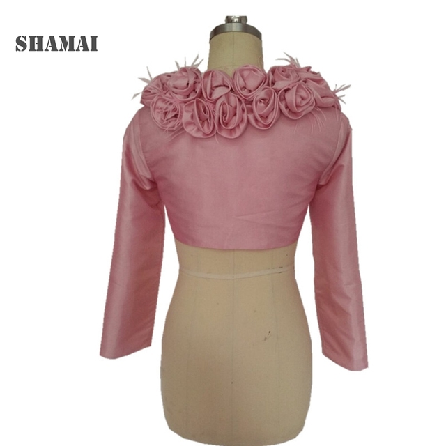Shamai Pink Long Sleeve Wedding Jacket Flowers On Feather Bridal Coat Taffeta Black Party Wrap