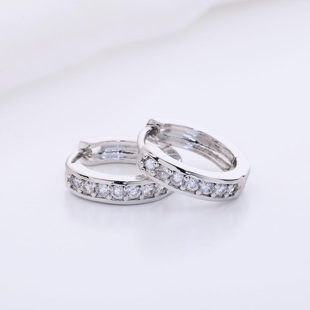 Kinitial 1Pair Small Hoop Earrings 24K Gold Cubic Zirconia Round Hoop Earrings Filled Clear Womens Earrings Surgical Jewelry 5