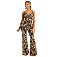JRRY Sexy Print Women Jumpsuits Spaghetti Strap Deep V Neck Jumpsuit Pattern Chain Wide Leg Jumpsuit Sashes Long Loose Jumpsuit(China)
