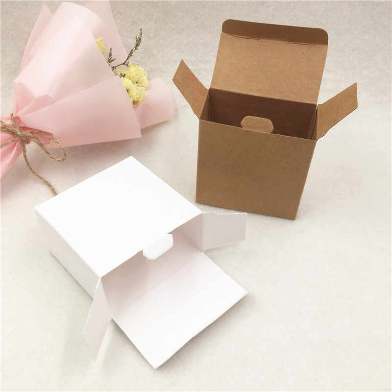 White/Brown Blank Cardboard Paper Boxes Chocolate Candy Container Cases Normal Wedding Festival Party Supply Gift Packing Boxes
