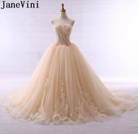 JaneVini Sexy Cut Neck Long Prom Dresses 2019 Illusion Ball Gowns Lace Appliques Champagne Backless Formal Wedding Party Dress