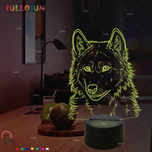 3D Wolf Night Lamp USB LED Lighting Colorful Animal Desk Table  for Home Decoration