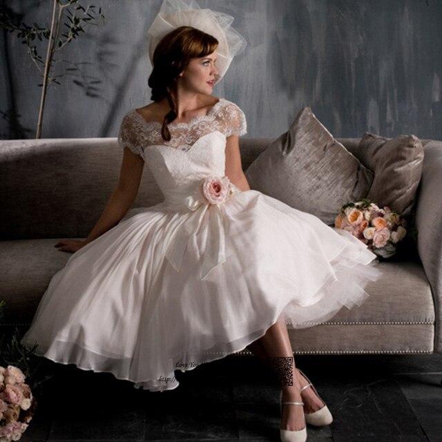 Boho Wedding Dress Short Vintage Lace Wedding Gowns Cap