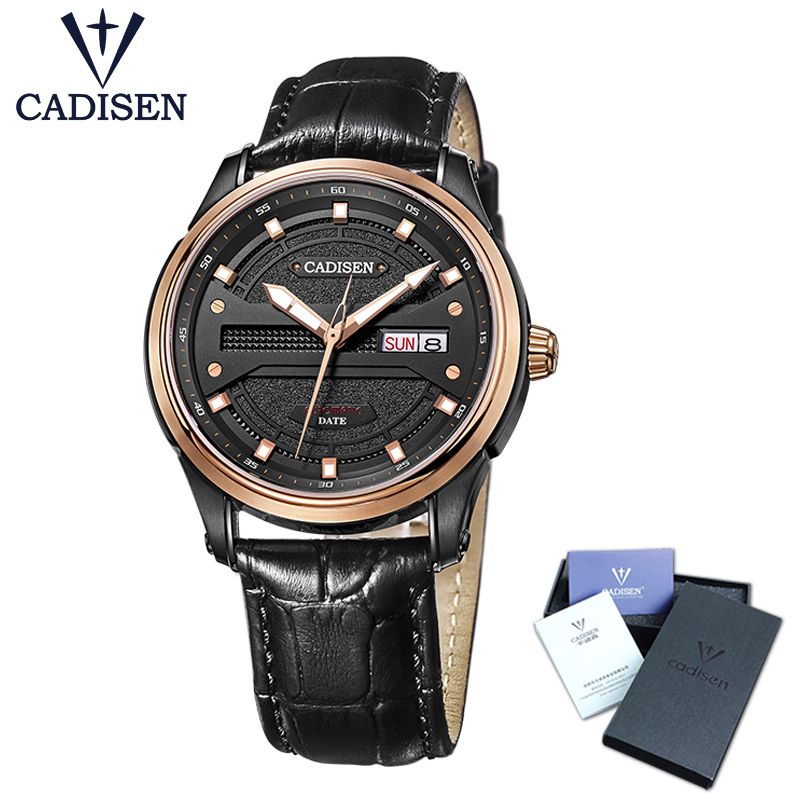 Cadisen Watch Men Top Brand Luxury Famous Male Clock Leather strap Automatic