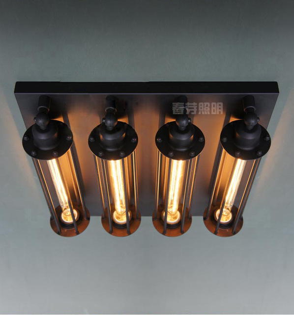 CY Ceiling Lamps Of Vintage Restoration 4 Bulb Steampunk Wall Sconce Ceiling  Lamp Aged Steel 20TH