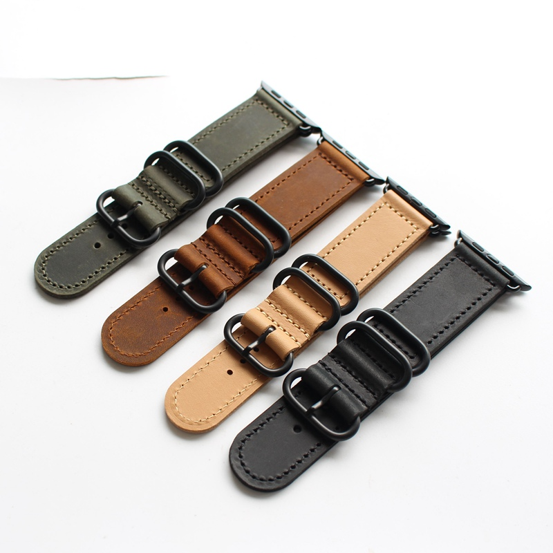 38mm 42mm Brown Black green khaki Replacement Watch Fit For Iwatch Apple Watch Genuine Leather Watch Band Straps For Women Man green apple green apple квадратный горшок с автополивом на колесиках 45 45 42 красный