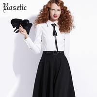 Rosetic Gothic Blouse White Women Autumn Vintage Bow Tie Elegant OL Formal Shirt Street Fashion Top Goth Female Blouse Winter