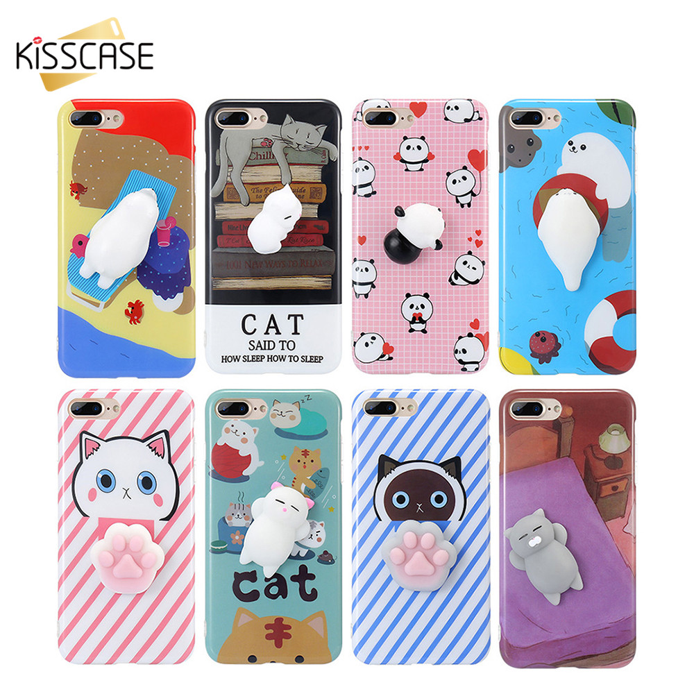 Iphone 6 squishy case - Kisscase Cute 3d Squishy Case For Iphone 7 6 6s Plus Funny Cat Panda Seal 3d
