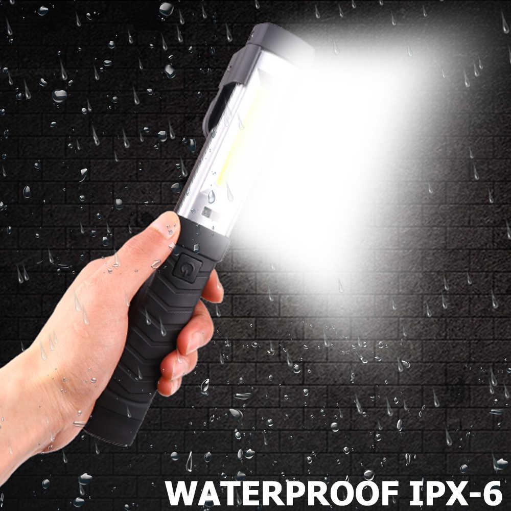 8500LM Магнитный флэш-светильник COB + светодиодный рабочий светильник USB lanterna перезаряжаемый фонарь, Ремонтный светильник с крюком, портативный флэш-светильник