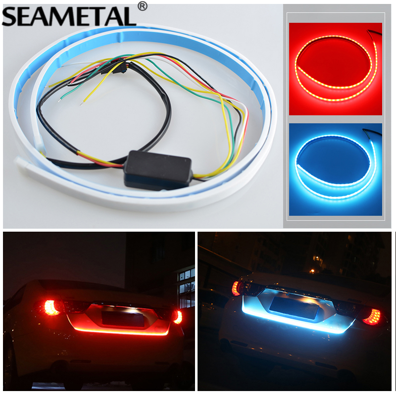 120CM Car Light LED Strips Rear Trunk <font><b>Tail</b></font> Lights Braking Dynamic Streamer Turn Turning Signals Warning LEDs Strip Car-styling