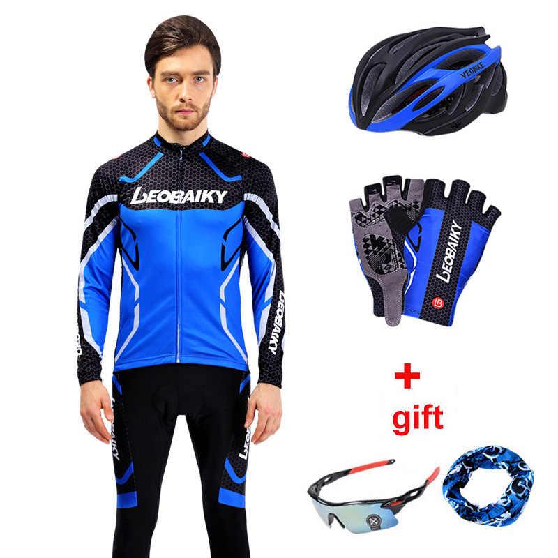 Pro takım bisiklet giyim erkekler uzun kollu bisiklet Jersey seti spor MTB giyim hızlı kuru erkek yol bisikleti elbise erkek sürme takım elbise