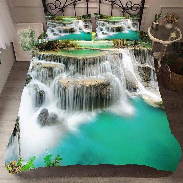 Bettwäsche Set 3D Druckte Duvet Abdeckung Bett Set Wald wasserfall Hause Textilien für Erwachsene Bettwäsche mit Kissenbezug # SL08