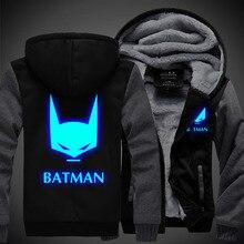 2016 Winter New Jackets BATMAN hoodie Anime Luminous Men Hooded Thick Zipper Coats USA EU size Plus size