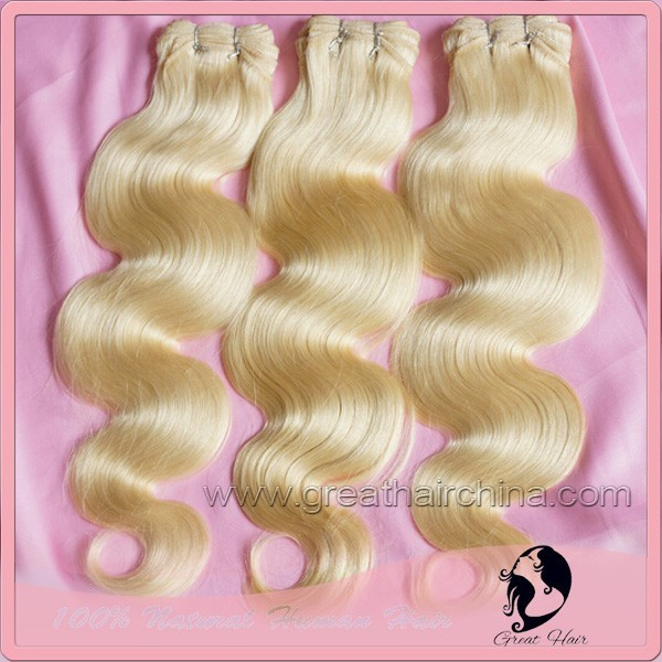 "Free Shipping Blonde Body Wave Natural Capelli Umani Hair Extension, 16""-26"" 613# Cheveux Humains Hair Weaving 3 Piece/Lot clips"