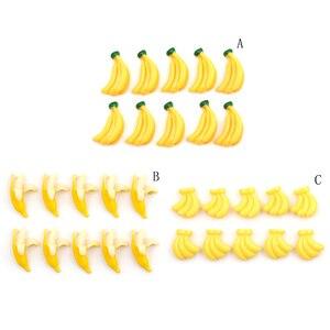 Image 2 - 5 uds resina Artificial Comida en miniatura frutas Banana jugar casa de muñecas de juguete de arte decorativo Kawaii adorno DIY Accesorios