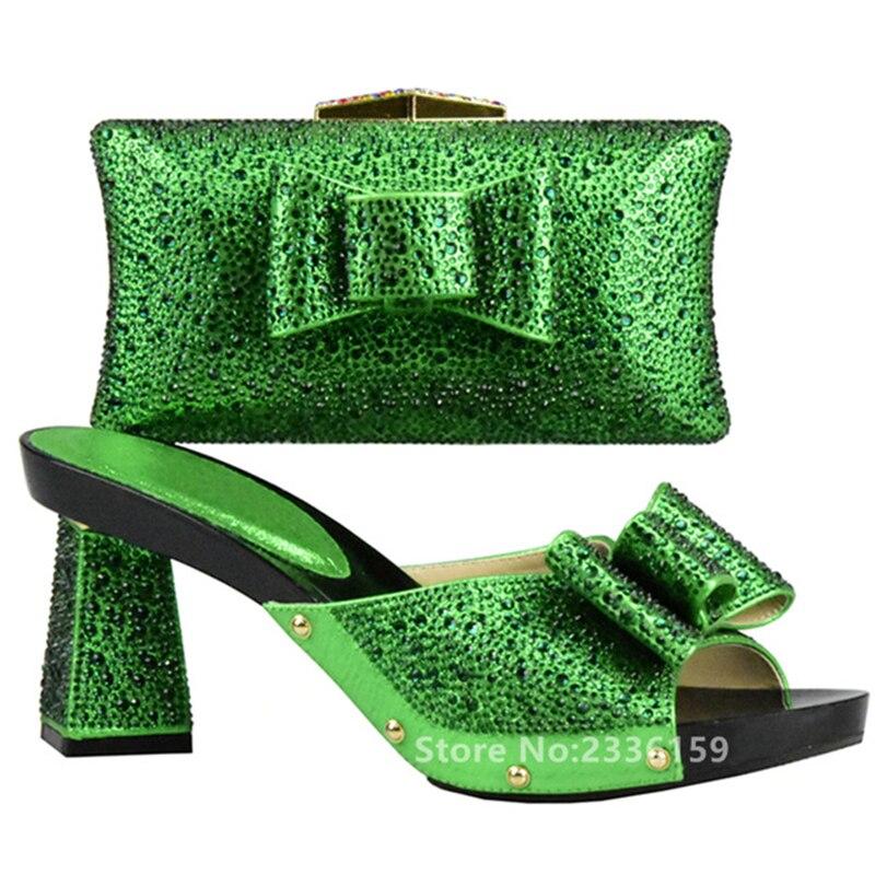 Décoré or Ensembles Italiennes Nigérian Sac Dames Noir Africain Ensemble argent Et Strass Couleur Chaussures vert Avec rouge bleu Vert 2017 Nnw8Om0v