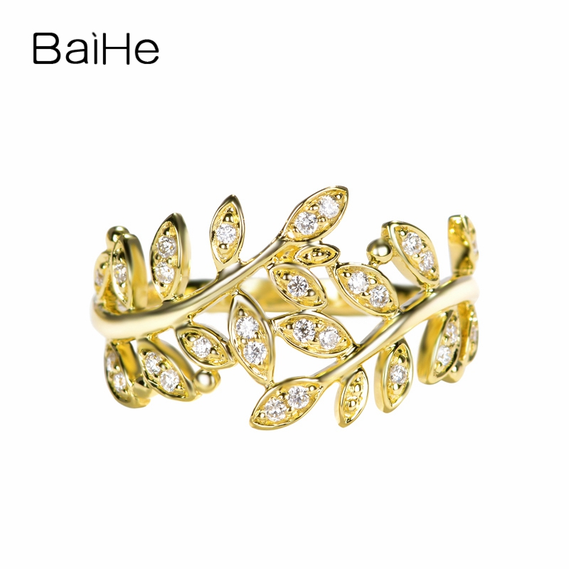 BAIHE Solid 14K Yellow Gold 0.16ct Certified H/SI 100% Genuine Natural Diamonds Wedding Women Trendy Fine Jewelry fashion Ring  BAIHE Solid 14K Yellow Gold 0.16ct Certified H/SI 100% Genuine Natural Diamonds Wedding Women Trendy Fine Jewelry fashion Ring