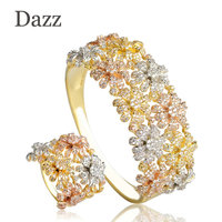 Dazz Shiny AAA Cubic Zirconia Women Jewelry Sets Three Tones Width Hollow Leaves Flower Baguette Bracelet Bangle And Ring Set