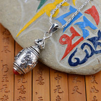 Thai silver wholesale S925 silver open six words gawu Box Pendant antique crafts Shurangama Mantra