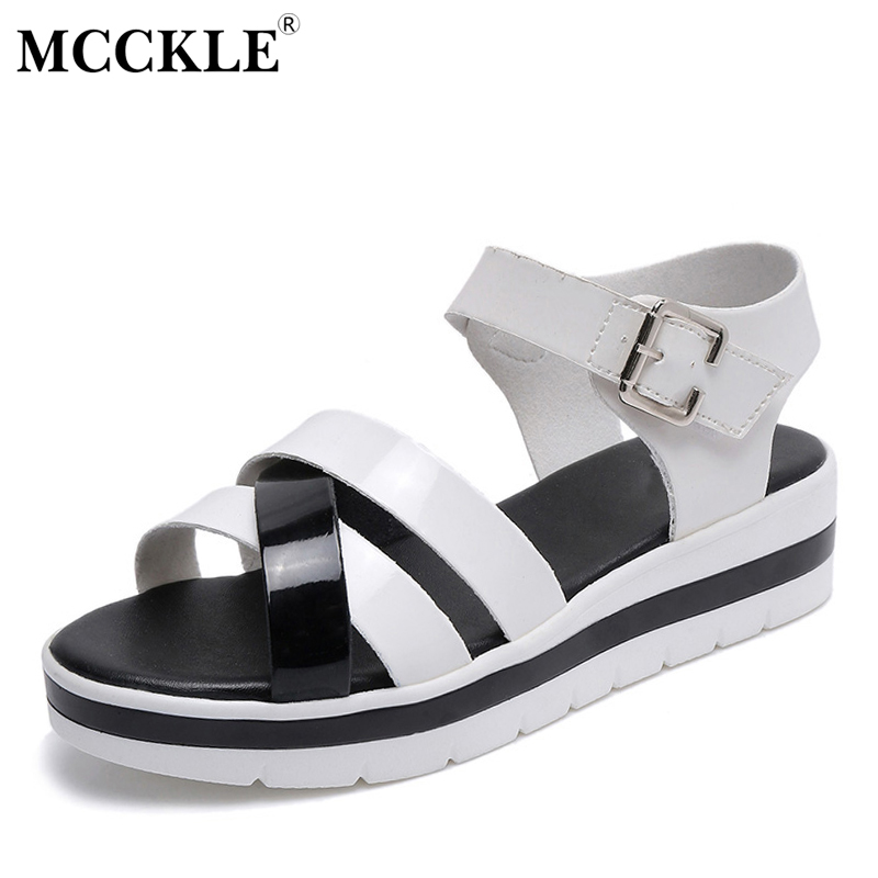 MCCKLE 2017 Fashion Shoes Women Sandals Flat Woman Platform Black Buckle Open Toe Summer Casual Comfortable Hot Sale Ladies mcckle 2017 fashion woman shoes flat women platform round toe lace up ladies office black casual comfortable spring