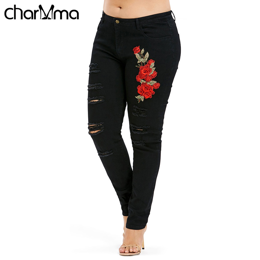 ripped   jeans   Plus Size Frayed Embroidery Applique   Jeans   Mid Waist Skinny Women Pencil Pants Floral Print 5XL Black Femme   Jeans