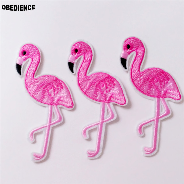 Obence 10pcs Cartoon Pink Flamingo Accessories Patch Bird Embroidered Patches Iron On Clothes Badge Lique Sewing Fabric