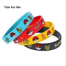 Trendy Charm Game Wristband Pokemon GO Silicone Bracelet Bangles Men Kids Black Rubber Bracelets for Women Souvenir Gift Jewelry