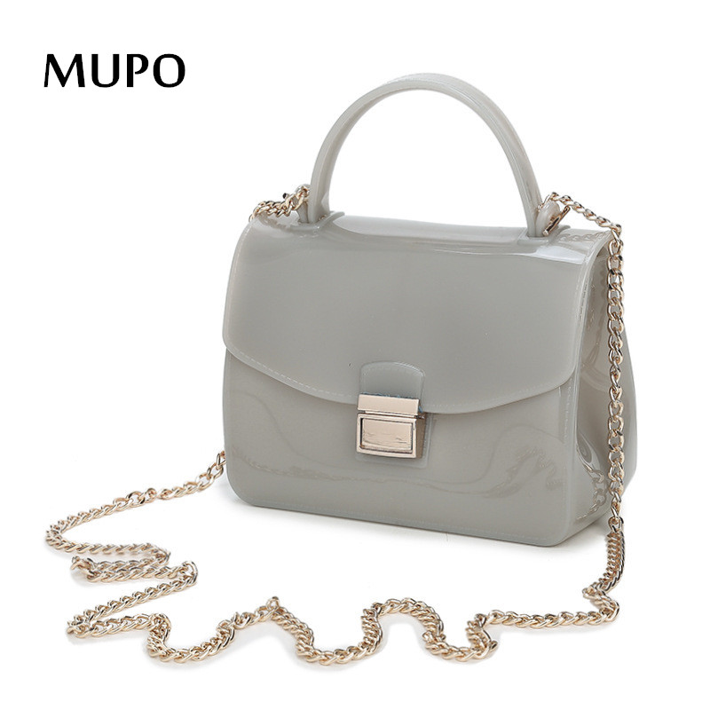 2016 Summer Fashion Furly Candy Mini Chain Bag High Quality PVC Transparent Jelly Beach Bags Rivet