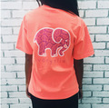 New 2017 Black Pink Tops Femme Women Funny Elephant Print Short Sleeve Hoodies Harajuku Ladies Summer T Shirt Cotton Blusas