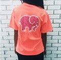 Novo 2017 Preto Rosa Encabeça Femme Mulheres Elefante Engraçado Imprimir Manga Curta Hoodies Harajuku Senhoras Verão T Camisa de Algodão Blusas