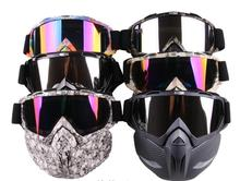 Motorcycle Glasses Googles with Mask Open Face Detachable Goggle Helmets Vintage Universal