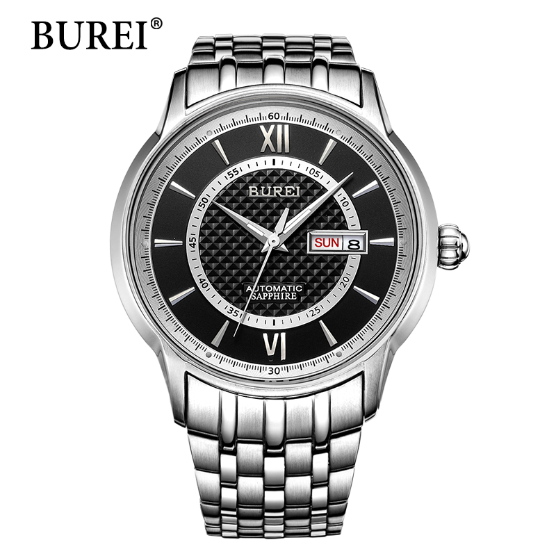 BUREI Men Mechanical Watches Top Luxury Brand Male Gold Steel Clock Calendar Sapphire Lens Waterproof Automatic Watch Hot Sale 2017 issue automatic watch men parnis 44mm power reserved steel black gold case brown leahter sapphire mechanical men s watches