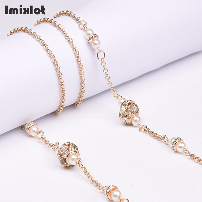 1pcs Copper String Simulated-pearl Crystal Beads Sunglasses Lanyard Strap Necklace Metal Eyeglass Chain Cord For Reading Glasses