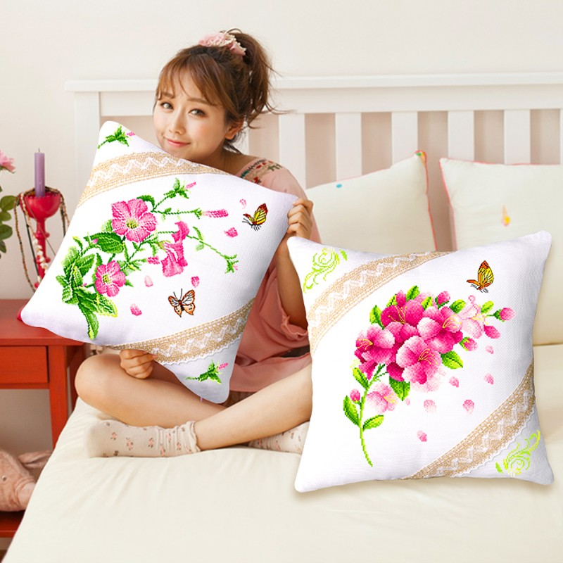 SewCrane Cushion Cover Stamped Cross Stitch Kit Throw Pillow Kit, Morning Glory Wildflowers, 18.1inches