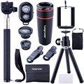 Longruner Mini Lens Kit Telephoto Lens + Fish Eye Lens + Wide Angle + Macro Lens Selfie Stick Monopod LA02