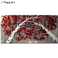 Experienced Artist Hand painted Modern Abstract Red Leaves Tree Oil Painting on Canvas Handmade Birch Landscape Oil Painting