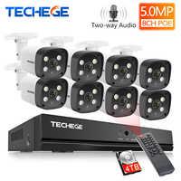 Techege 8CH Super HD 5MP sistema de vigilancia de Audio bidireccional detección humana Metal impermeable al aire libre AI cámara CCTV Cámara sistema de