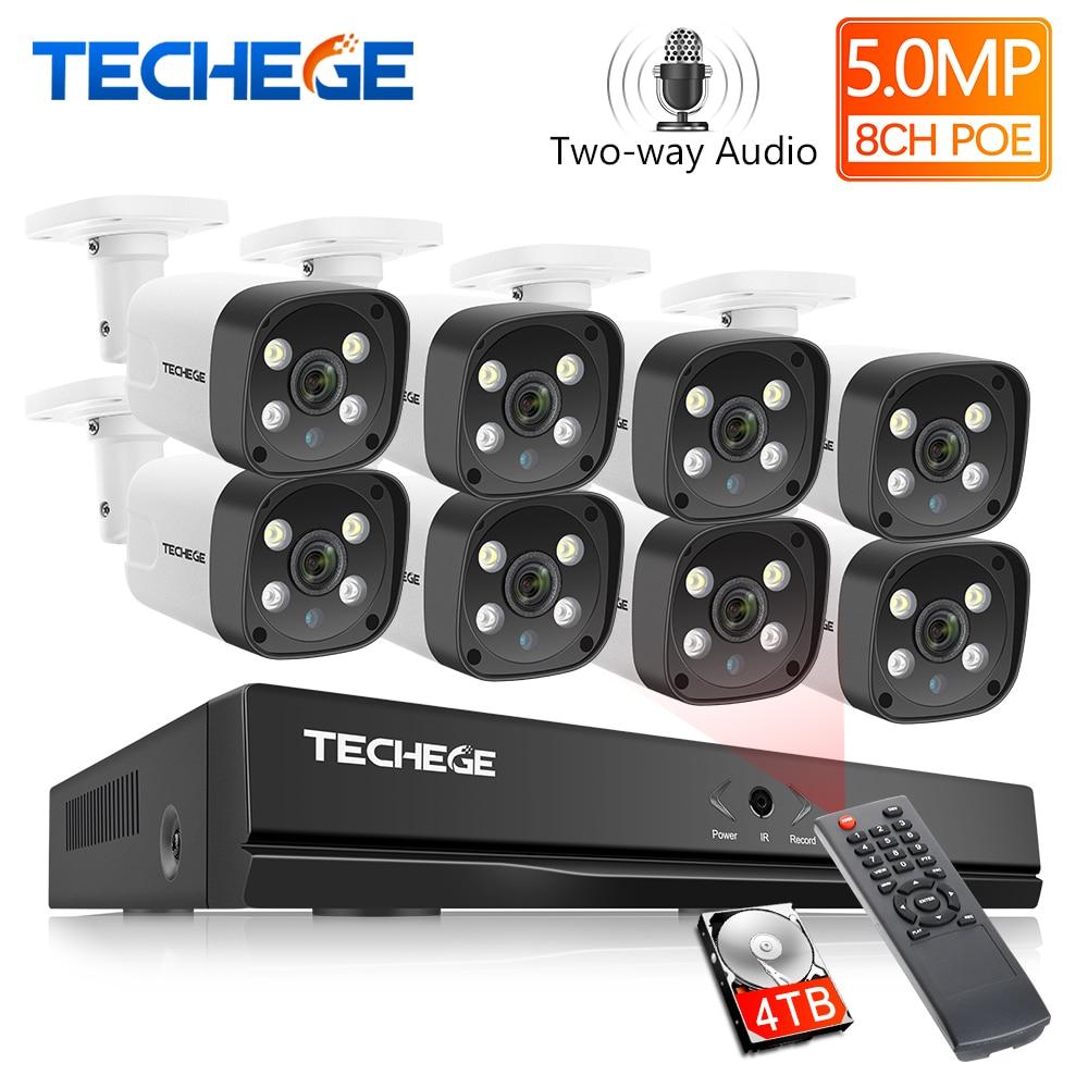 Techege 8ch super hd 5mp sistema de vigilância em dois sentidos de áudio de detecção humana metal à prova dwaterproof água ao ar livre câmera cctv sistema de câmera