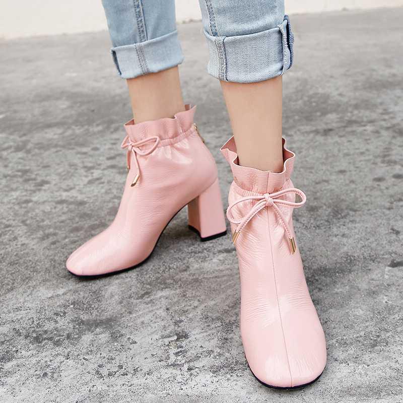 2019 nouveau cuir véritable bout rond dentelle volants bottines marque femmes couleur rose modèle Hollywood star bottines