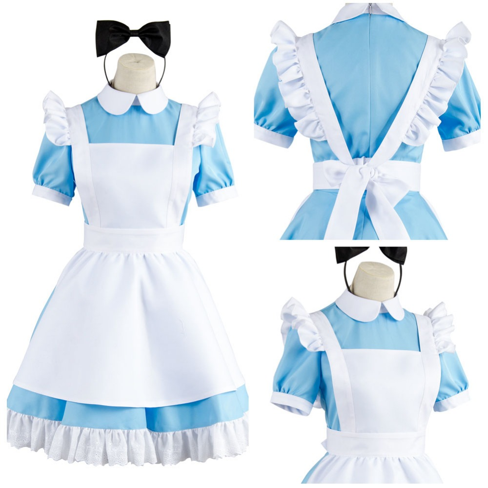 все цены на Cosplay Alice in Wonderland Costume Alice Blue White Maid Suit Dress Cosplay Costume Outfit Full Sets Halloween Adult Women