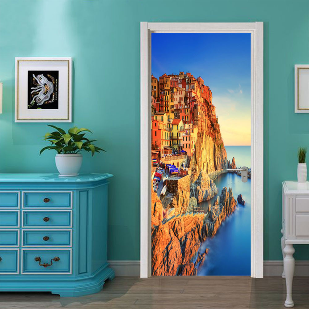 Image 4 - Blue Sky Sea Scene Snow Mountain Lake Bridge DIY 3D Door Sticker for Bath Room Dorm Door Home Decoration Accessories Large Size-in Wall Stickers from Home & Garden
