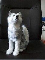 Large 30cm Simluation Husky Plush Toy Polyethylene Furs Handicraft Home Decoration T Christmas Gift T4426