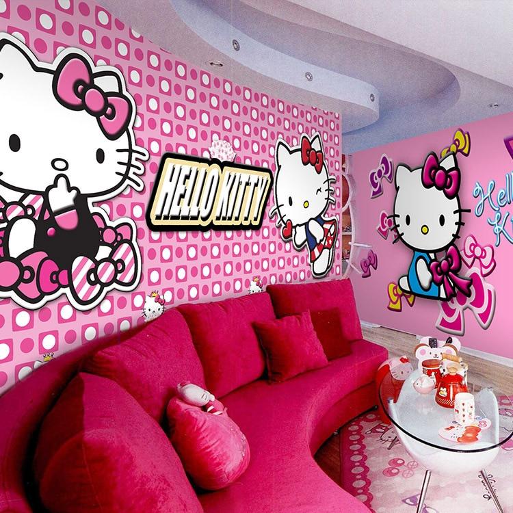 Hello kitty cartoon cat large mural the children's room bedroom wallpaper  commercial KTV theme room dining room wallpaper-in Wallpapers from Home ...