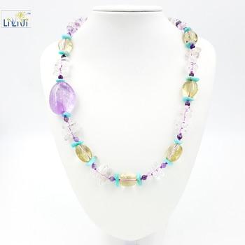Natural Stone Clear Quartz ,Lemon Quartz ,Amethysr,Amazonite with 925 Sterling silver Clasp Necklace Fashion Women Jewelry