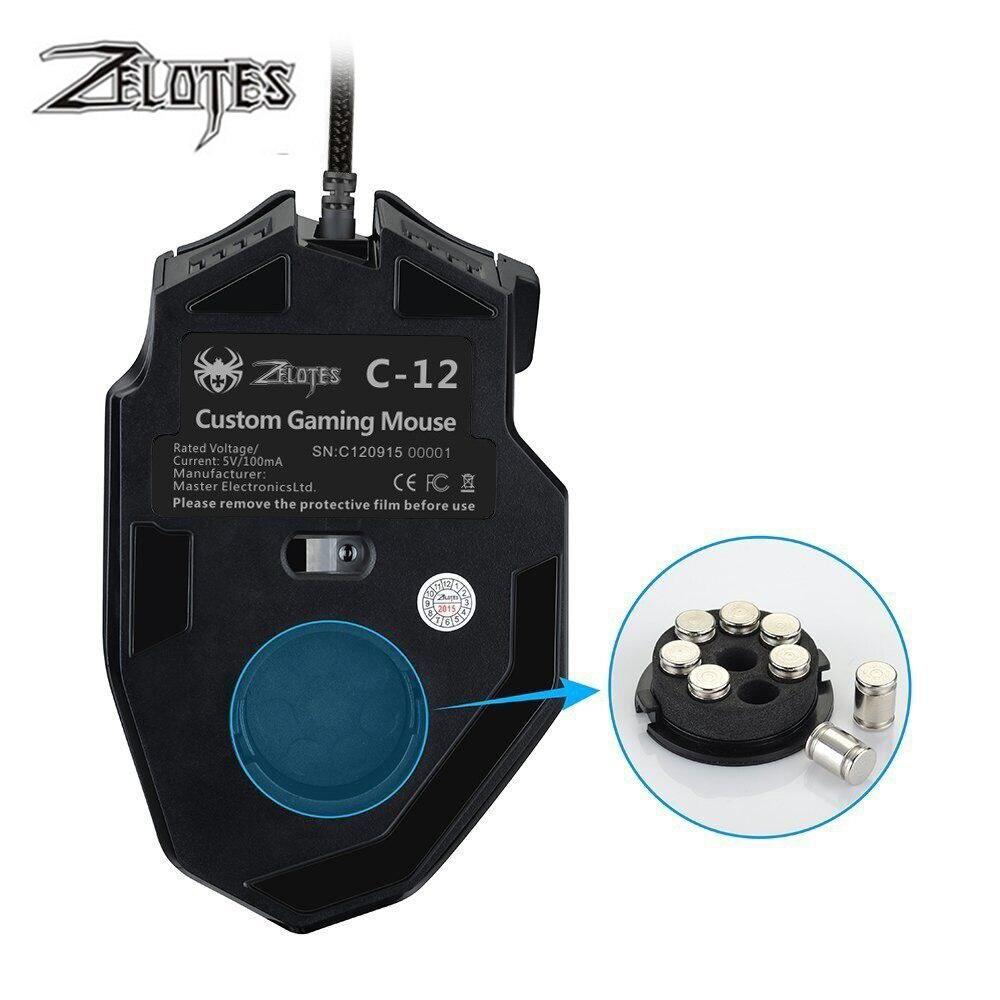 Image 5 - ZELOTES C 12 filaire USB 4000 DPI une souris de jeu optique 12  boutons programmables souris de jeu dordinateur 4 DPI réglables 7 LED  lumièresSouris