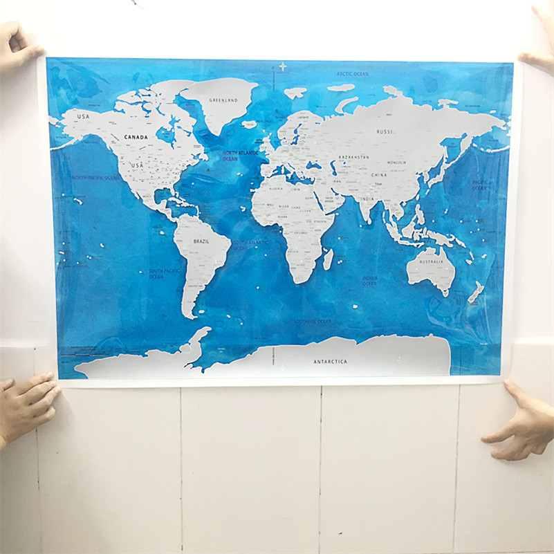 Drop shipping deluxe blow map personalized world map mini foil drop shipping deluxe blow map personalized world map mini foil layer coating poster wall sticker poster for living room travel in wall stickers from home gumiabroncs Choice Image