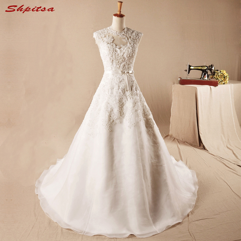 Vintage Lace Wedding Dress Luxury Tulle A Line High Neck